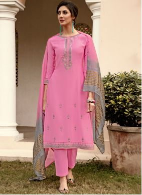 Pant Style Suit Embroidered Muslin in Pink