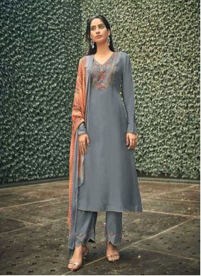 Pant Style Suit Embroidered Viscose in Grey