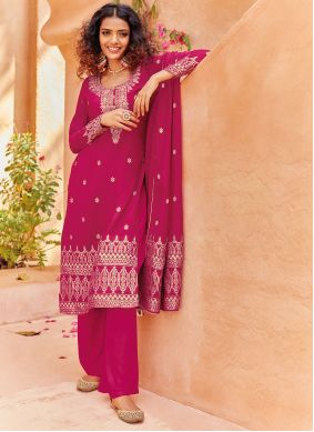 Pant Style Suit Embroidered Viscose in Rani