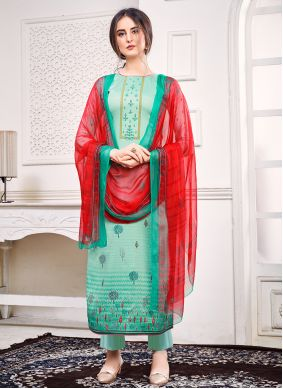 Green Pant Style Suit For Festival