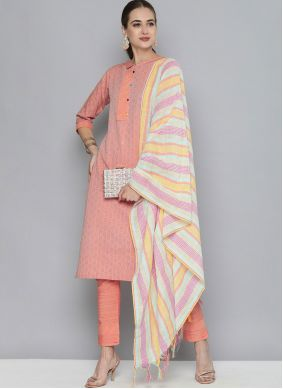 Peach Handloom Cotton Pant Style Suit For Party