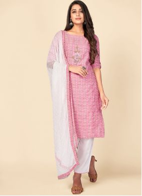 Pant Style Suit Print Cotton in Pink