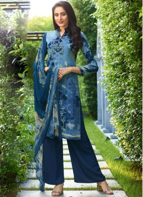 Pant Style Suit Printed Faux Crepe in Navy Blue