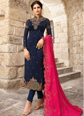 Pant Style Suit Resham Georgette in Blue