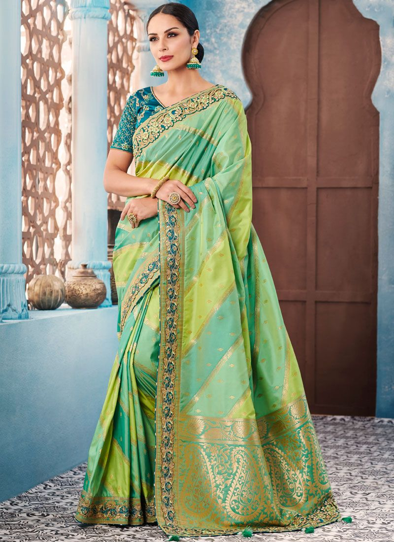 Paramount Green Embroidered Trendy Saree