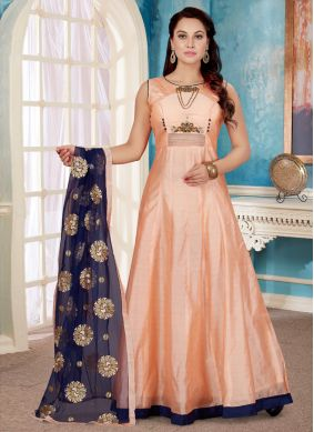 Paramount Peach Art Silk Readymade Gown