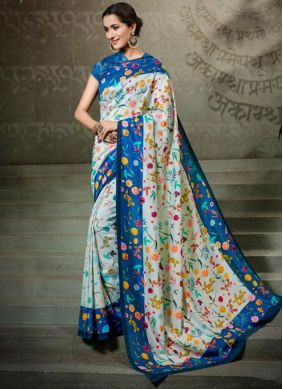 Paramount Tussar Silk Digital Print Multi Colour Traditional Saree