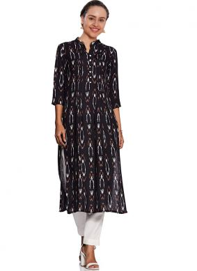 Party Wear Kurti Abstract Print Fancy Fabric in Black