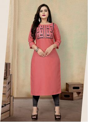 Party Wear Kurti Embroidered Cotton in Pink