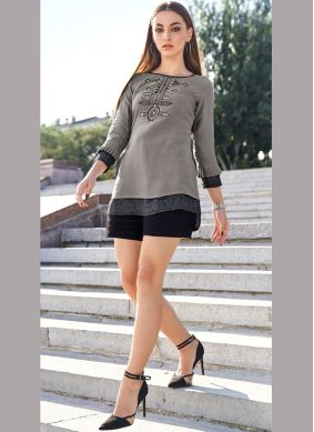 Party Wear Kurti Embroidered Rayon in Grey