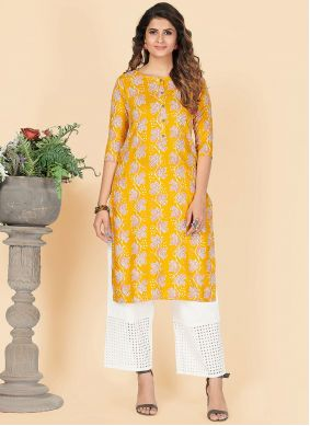 Yellow Party Wear Kurti For Festival