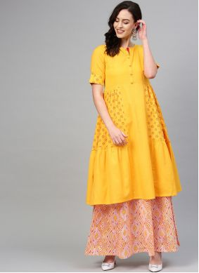 Party Wear Kurti Print Cotton in Mustard