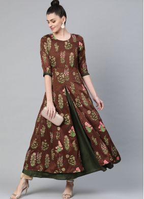 Party Wear Kurti Print Poly Silk in Brown