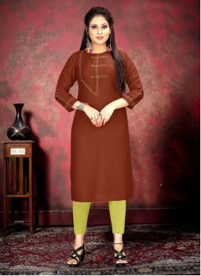 Party Wear Kurti Print Rayon in Red