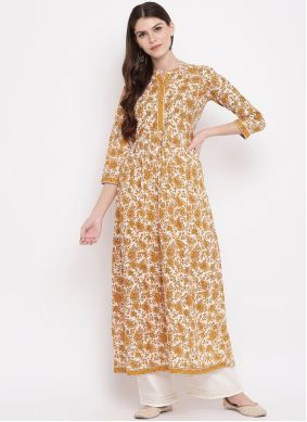 Party Wear Kurti Printed Cotton in White