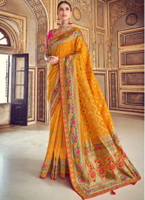 Patch Border Art Silk Designer Traditional Saree in Mustard