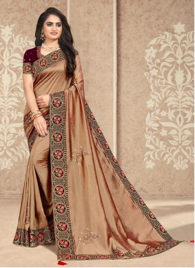 Patch Border Beige Silk Traditional Designer Saree