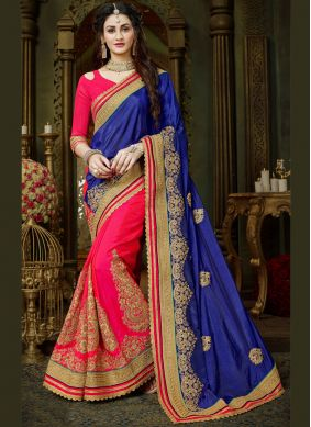 Patch Border Blue and Hot Pink Art Silk Designer Half N Half Saree