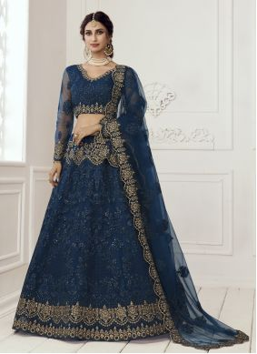 Patch Border Blue Lehenga Choli
