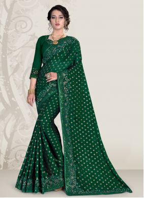 Green Patch Border Ceremonial Traditional Saree