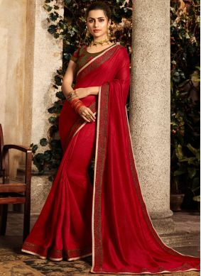 Patch Border Fancy Fabric Classic Designer Saree in Red