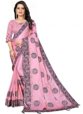 Patch Border Fancy Fabric Designer Saree in Pink