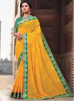 Patch Border Faux Georgette Mustard Traditional Designer Saree