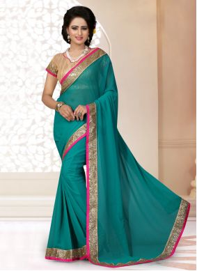 Patch Border Faux Georgette Rama Classic Saree