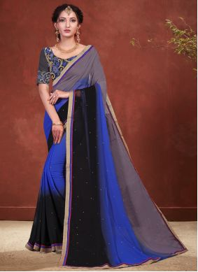 Patch Border Faux Georgette Shaded Saree in Black, Blue and Grey
