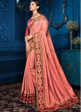 Patch Border Georgette Satin Classic Saree in Pink