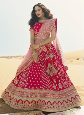 Patch Border Hot Pink A Line Lehenga Choli