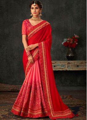 Patch Border Poly Silk Designer Half N Half Saree in Hot Pink and Red
