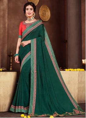 Green Patch Border Poly Silk Traditional Saree
