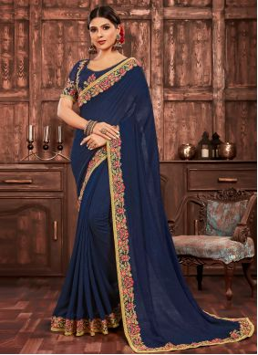 Patch Border Poly Silk Navy Blue Traditional Saree