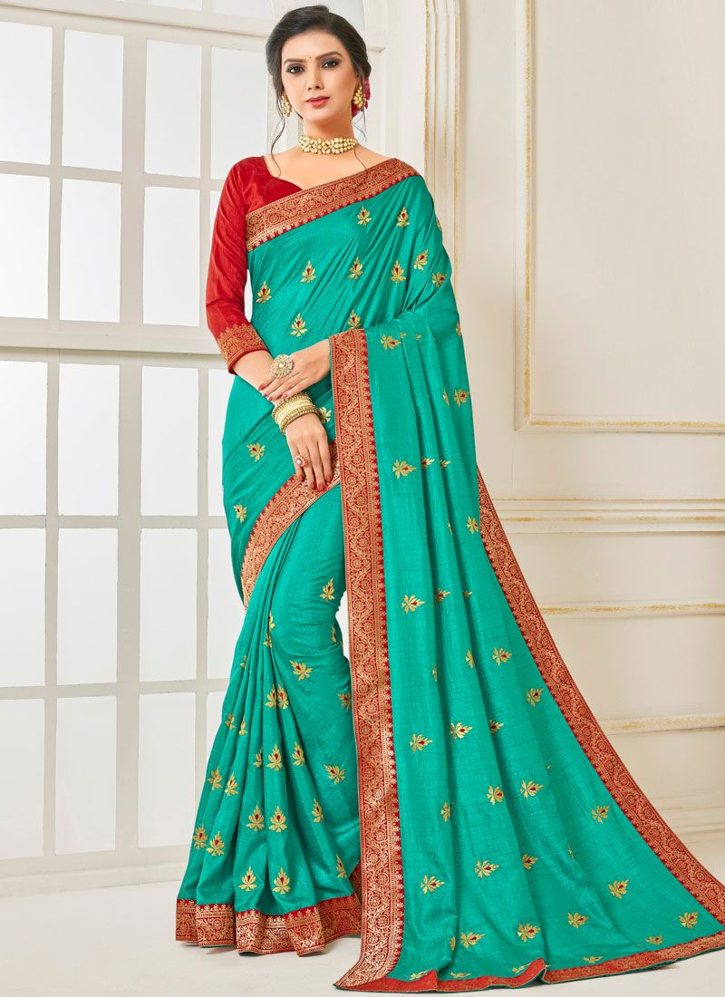 Patch Border Poly Silk Traditional Saree in Sea Green