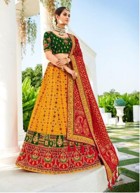 Patch Border Silk Green, Mustard and Red Lehenga Choli