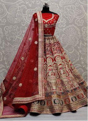 Red Patch Border Silk Lehenga Choli