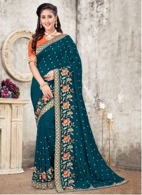Patch Border Silk Traditional Saree in Teal