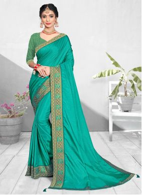 Patch Border Turquoise Vichitra Silk Traditional Saree