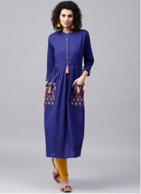 Patchwork Cotton Casual Kurti in Blue