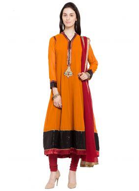 Patchwork Mustard Faux Georgette Readymade Anarkali Salwar Suit