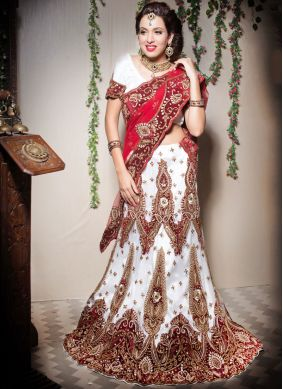 Patchwork Net Designer Lehenga Choli in Off White