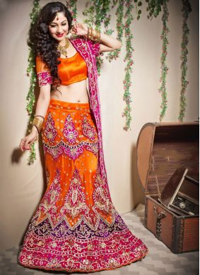 Patchwork Net Designer Lehenga Choli in Orange