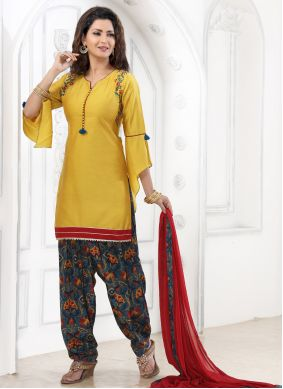 Patiala Suit Embroidered Cotton in Yellow
