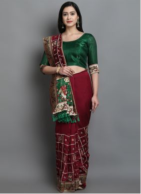 Patola Print Green and Maroon Silk Designer Traditional Saree