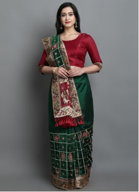 Patola Print Silk Green Traditional Designer Saree