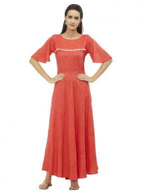 Peach and Pink Color Party Wear Kurti