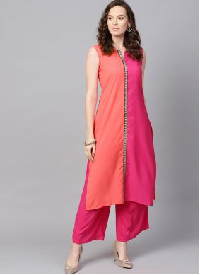 Peach and Pink Faux Crepe Casual Kurti