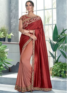 Peach and Red Thread Work Classic Designer Saree