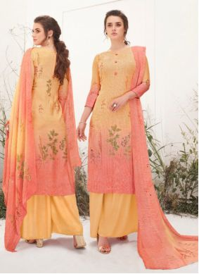 Peach and Yellow Muslin Designer Palazzo Suit